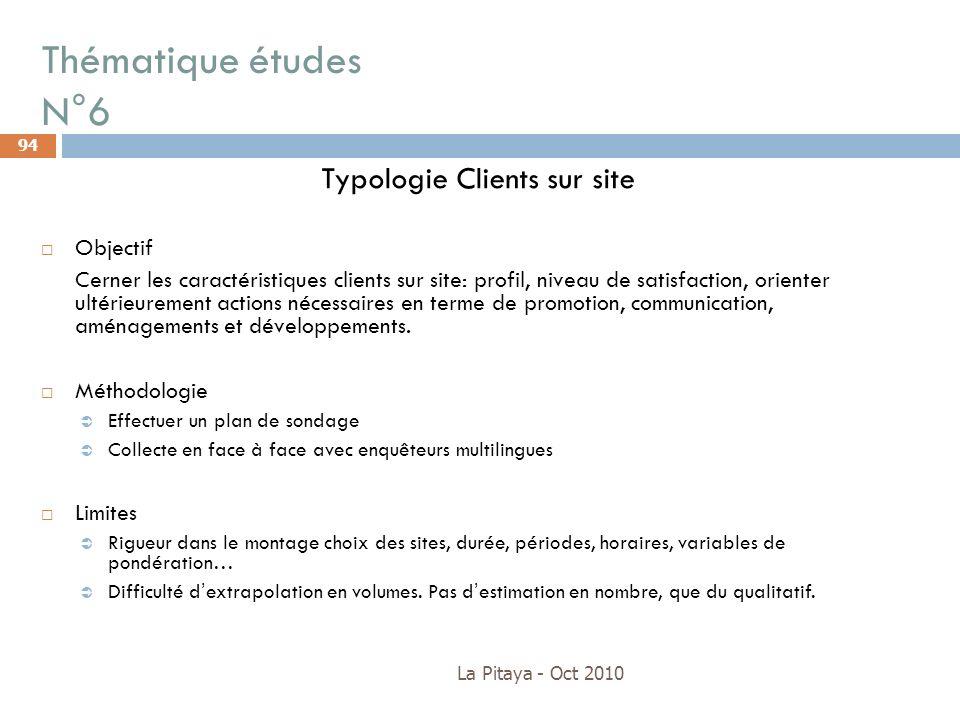 Thématique études N°6 La Pitaya - Oct 2010 94 Typologie Clients sur site Objectif Cerner les caractéristiques clients sur site: profil, niveau de sati