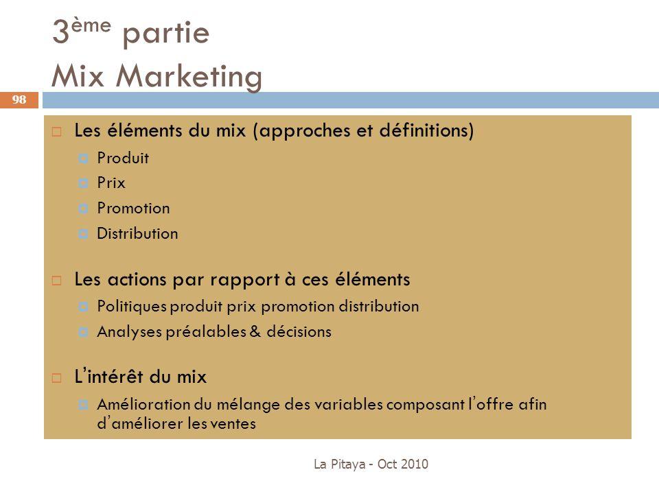 3 ème partie Mix Marketing La Pitaya - Oct 2010 98 Les éléments du mix (approches et définitions) Produit Prix Promotion Distribution Les actions par