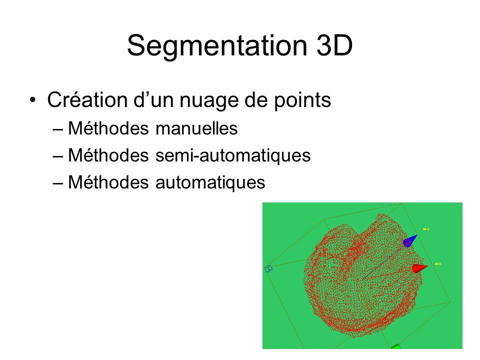 Segmentation 3D Création dun nuage de points –Méthodes manuelles –Méthodes semi-automatiques –Méthodes automatiques