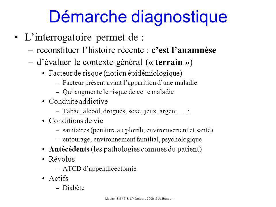 Master ISM / TIS/ LP Octobre 2009 IS JL Bosson Démarche diagnostique Linterrogatoire permet de : –reconstituer lhistoire récente : cest lanamnèse –dév