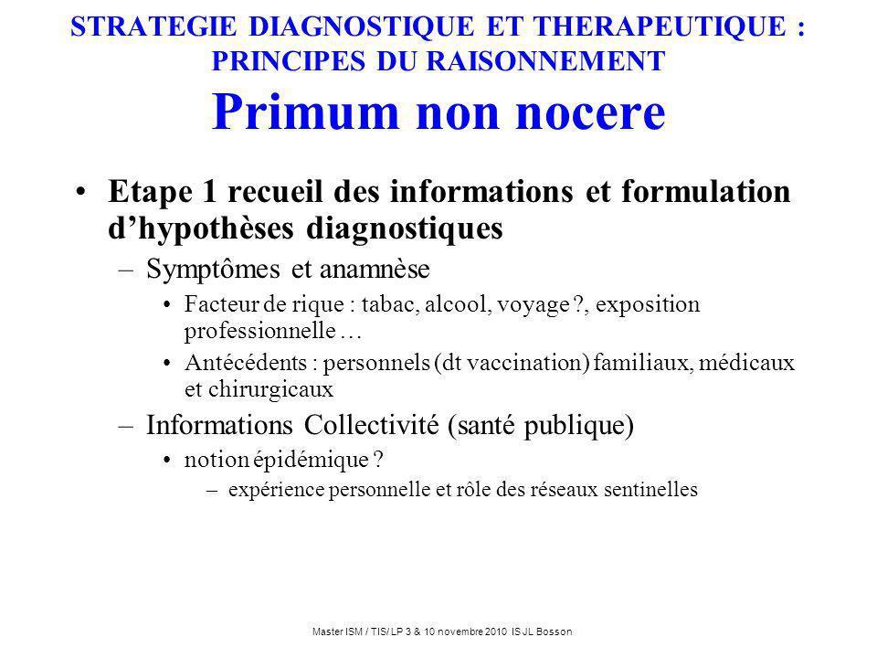 STRATEGIE DIAGNOSTIQUE ET THERAPEUTIQUE : PRINCIPES DU RAISONNEMENT Primum non nocere Etape 1 recueil des informations et formulation dhypothèses diag