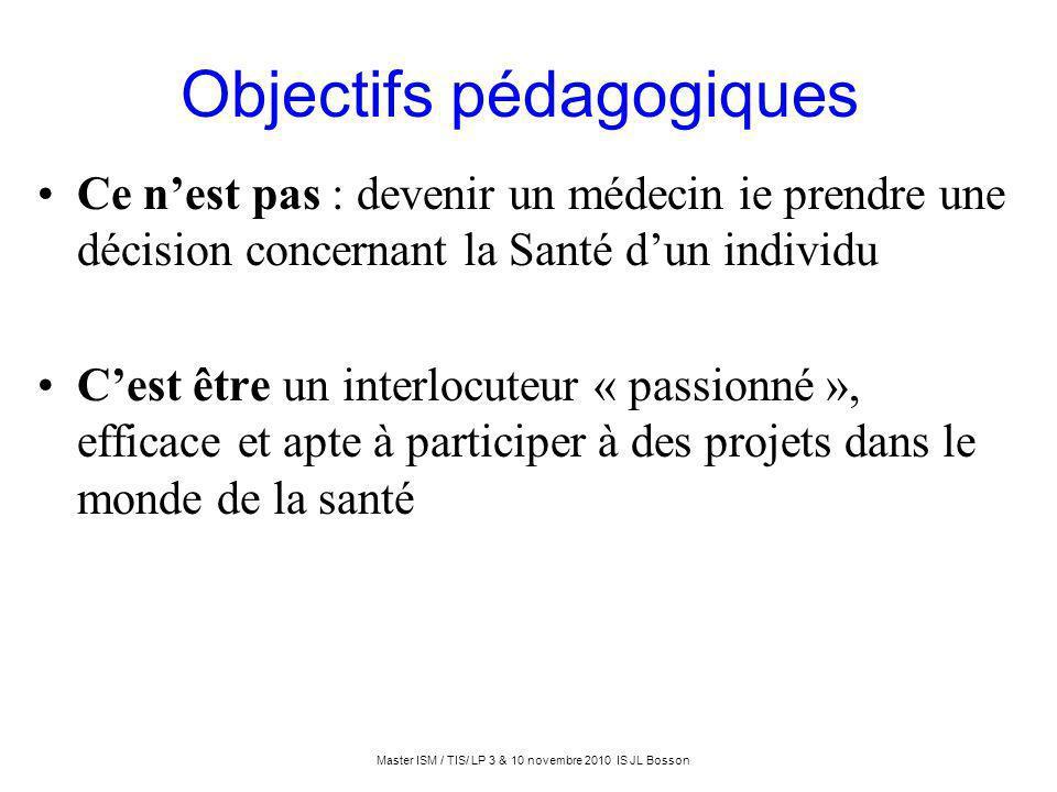 Objectifs pédagogiques Ce nest pas : devenir un médecin ie prendre une décision concernant la Santé dun individu Cest être un interlocuteur « passionn