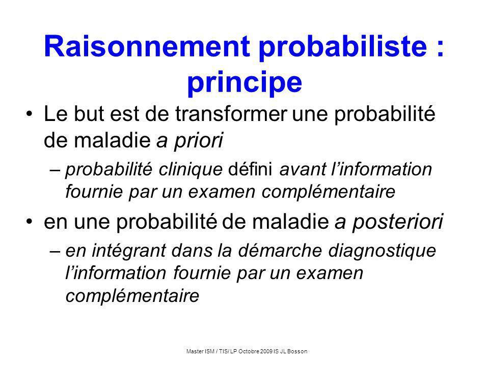 Master ISM / TIS/ LP Octobre 2009 IS JL Bosson Raisonnement probabiliste : principe Le but est de transformer une probabilité de maladie a priori –pro