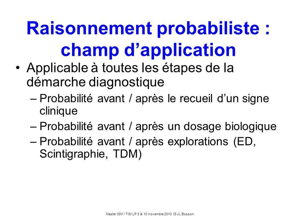 Raisonnement probabiliste : champ dapplication Applicable à toutes les étapes de la démarche diagnostique –Probabilité avant / après le recueil dun si