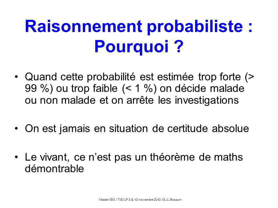 Raisonnement probabiliste : Pourquoi ? Quand cette probabilité est estimée trop forte (> 99 %) ou trop faible (< 1 %) on décide malade ou non malade e