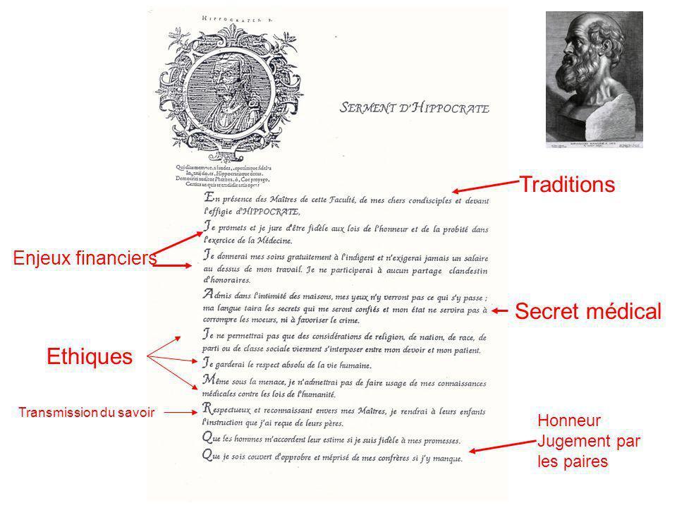 Master ISM / TIS/ LP Octobre 2009 IS JL Bosson Traditions Enjeux financiers Secret médical Ethiques Transmission du savoir Honneur Jugement par les pa