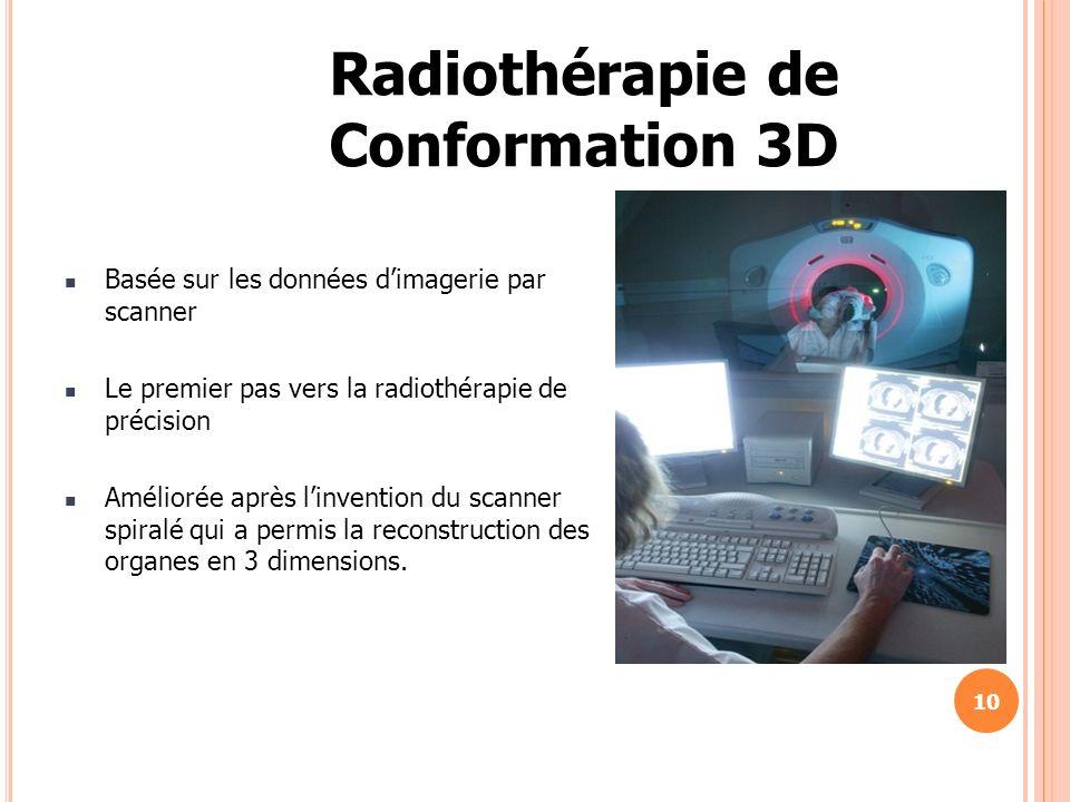 Basée sur les données dimagerie par scanner Le premier pas vers la radiothérapie de précision Améliorée après linvention du scanner spiralé qui a perm