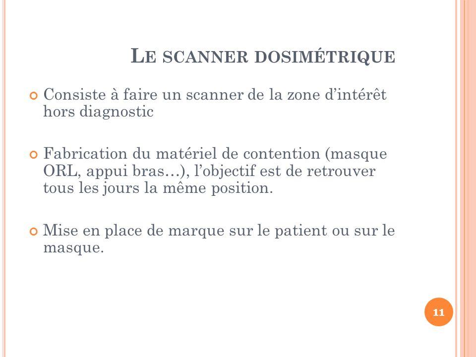 L E SCANNER DOSIMÉTRIQUE Consiste à faire un scanner de la zone dintérêt hors diagnostic Fabrication du matériel de contention (masque ORL, appui bras