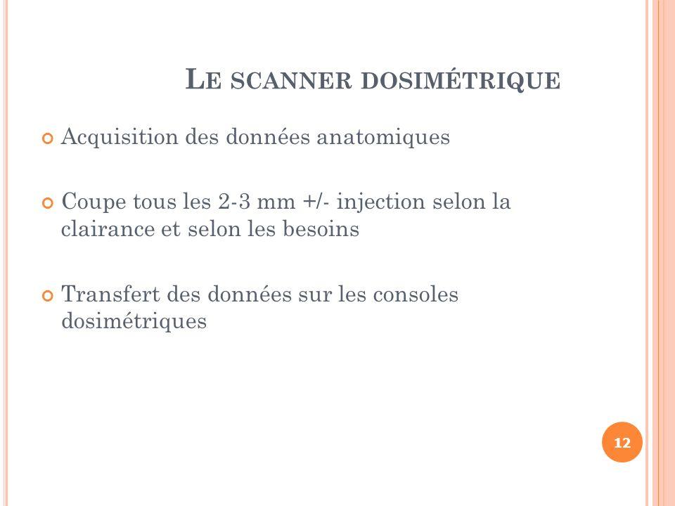 L E SCANNER DOSIMÉTRIQUE Acquisition des données anatomiques Coupe tous les 2-3 mm +/- injection selon la clairance et selon les besoins Transfert des