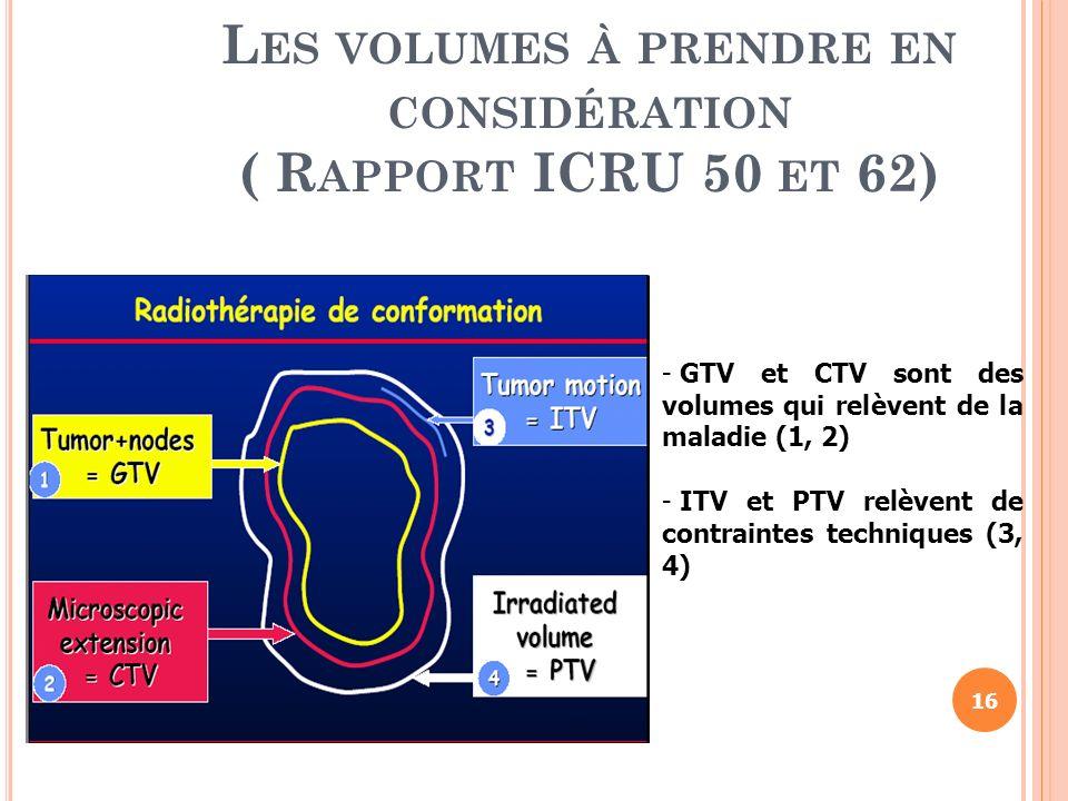 L ES VOLUMES À PRENDRE EN CONSIDÉRATION ( R APPORT ICRU 50 ET 62) - GTV et CTV sont des volumes qui relèvent de la maladie (1, 2) - ITV et PTV relèven