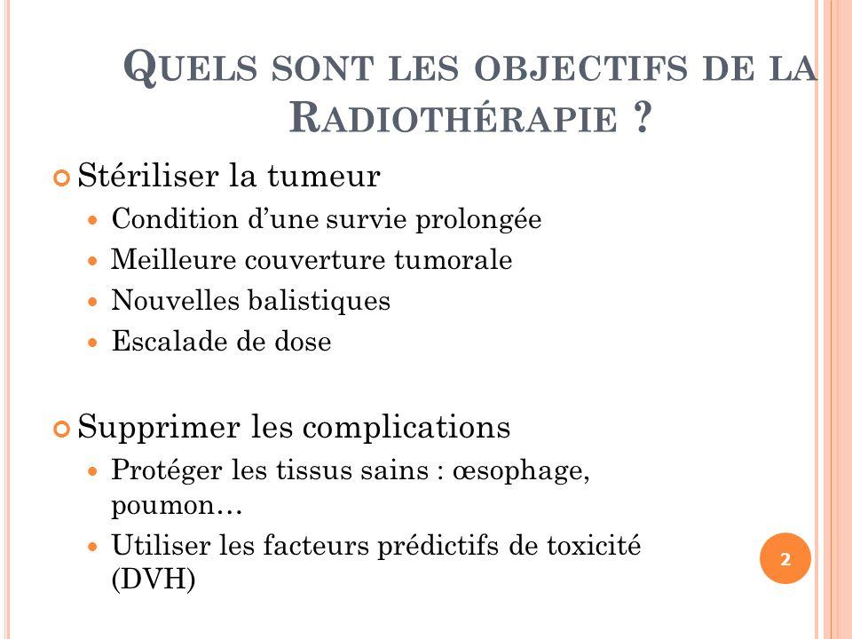 E VOLUTIONS DE LA R ADIOTHÉRAPIE EXTERNE Limitation de la dose délivrée à la tumeur du fait des OAR (RCMI) Mobilité de la cible (Blocage respiratoire, RPM=Real-time Position Management) Manque de reproductibilité du positionnement quotidiennement (exatrac) Mouvement de lorgane cible inter-fraction (IGRT) Adapter le volume irradié au volume tumoral (ART) 43