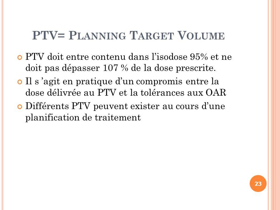 PTV= P LANNING T ARGET V OLUME PTV doit entre contenu dans lisodose 95% et ne doit pas dépasser 107 % de la dose prescrite. Il s agit en pratique dun