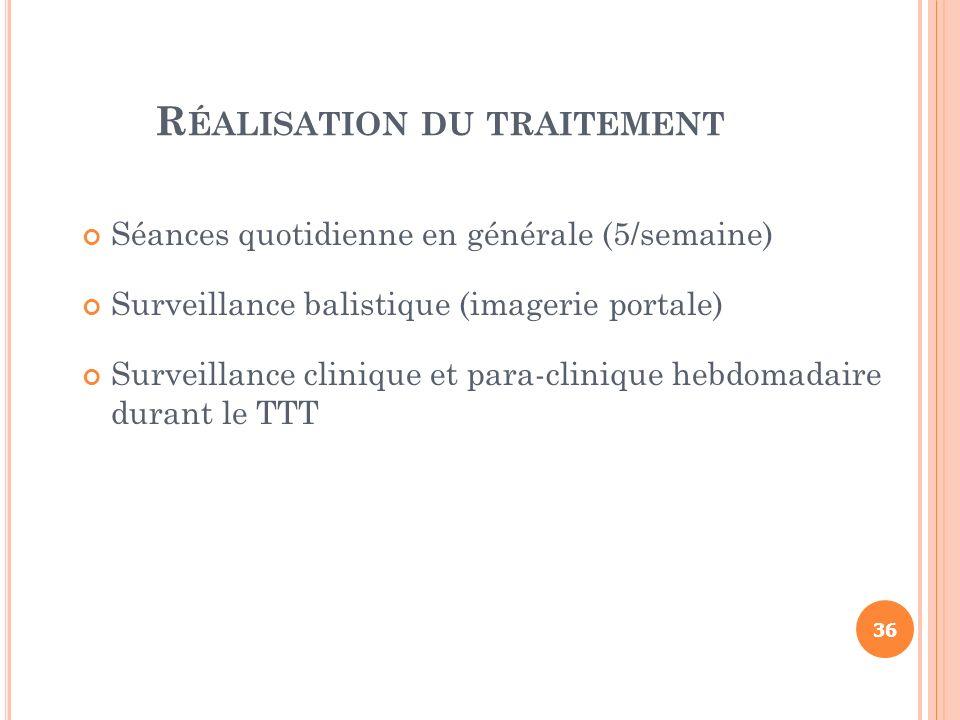 R ÉALISATION DU TRAITEMENT Séances quotidienne en générale (5/semaine) Surveillance balistique (imagerie portale) Surveillance clinique et para-cliniq