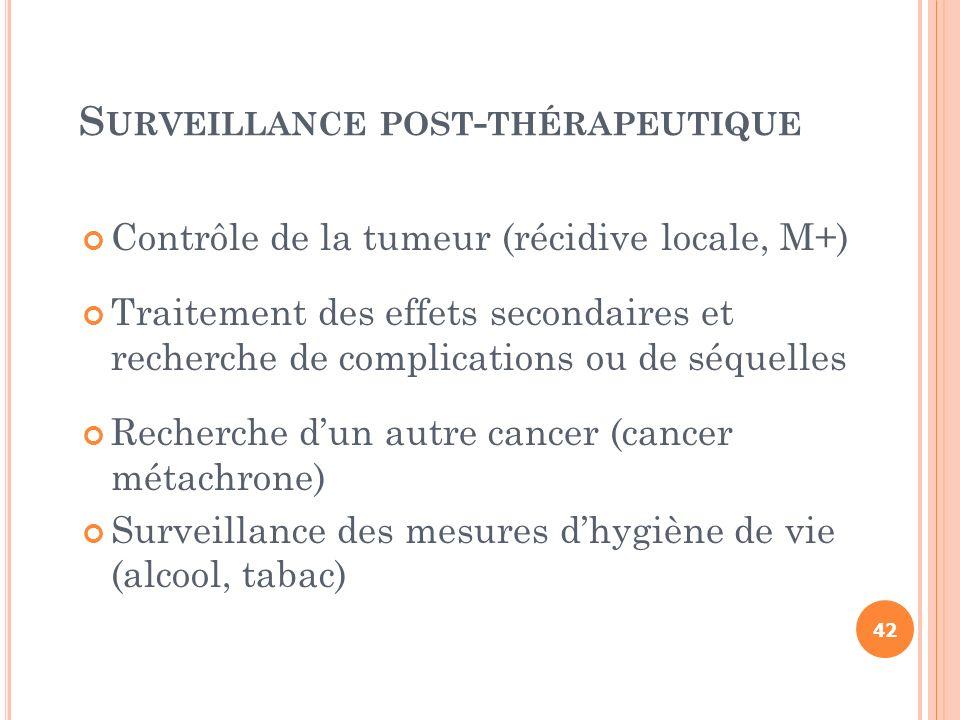 S URVEILLANCE POST - THÉRAPEUTIQUE Contrôle de la tumeur (récidive locale, M+) Traitement des effets secondaires et recherche de complications ou de s