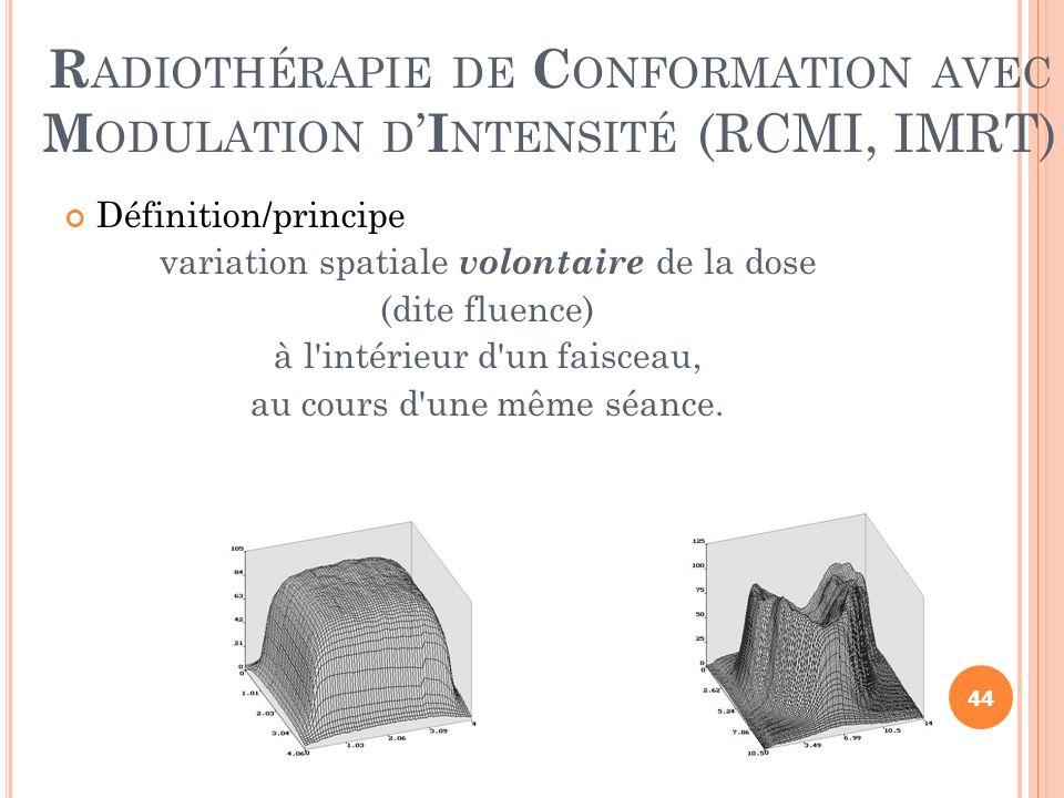R ADIOTHÉRAPIE DE C ONFORMATION AVEC M ODULATION D I NTENSITÉ (RCMI, IMRT) Définition/principe variation spatiale volontaire de la dose (dite fluence)