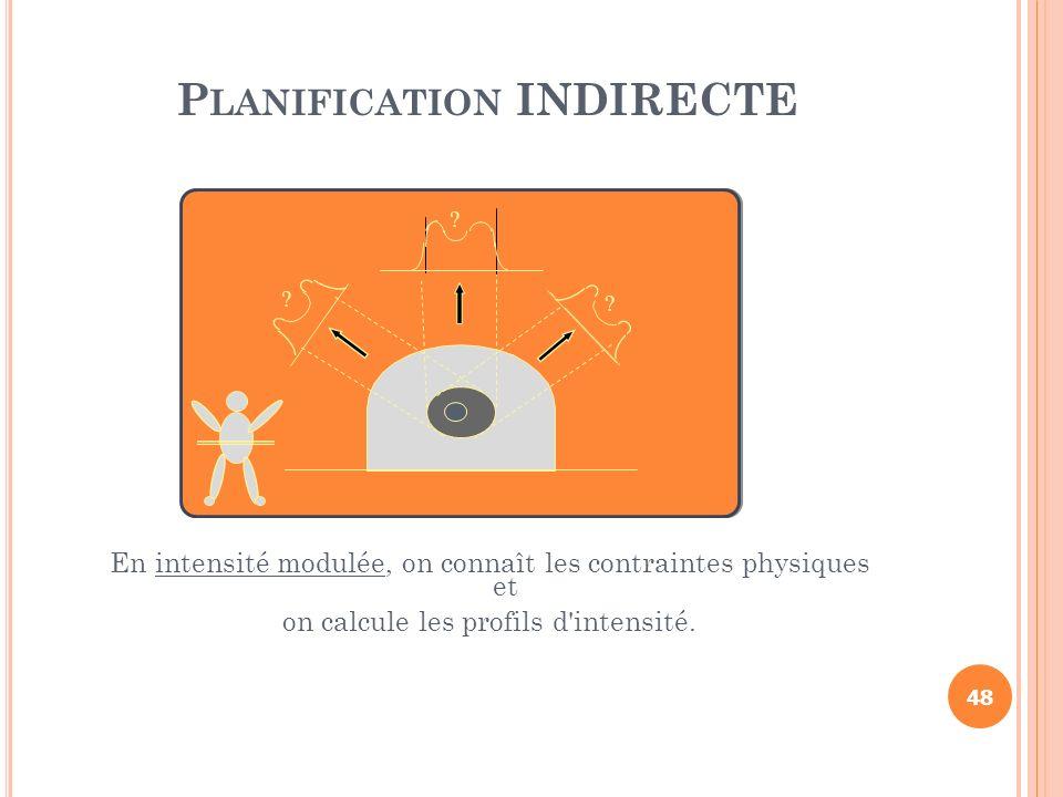 P LANIFICATION INDIRECTE En intensité modulée, on connaît les contraintes physiques et on calcule les profils d'intensité. ? ? ? 48
