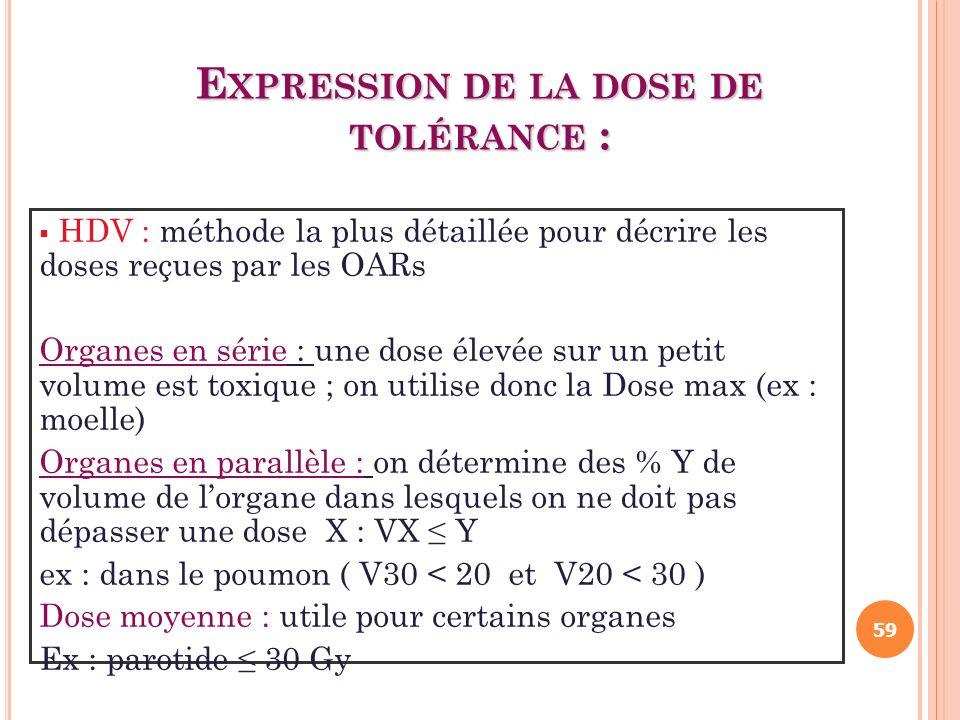 E XPRESSION DE LA DOSE DE TOLÉRANCE : HDV : méthode la plus détaillée pour décrire les doses reçues par les OARs Organes en série : une dose élevée su