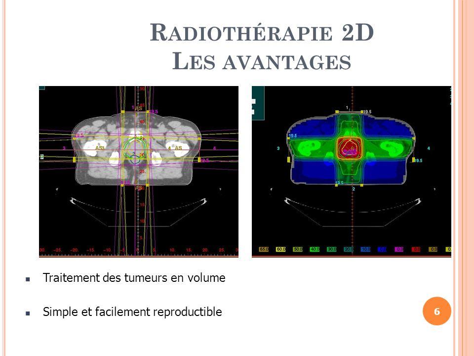 R ADIOTHÉRAPIE 2D L ES AVANTAGES Traitement des tumeurs en volume Simple et facilement reproductible 6