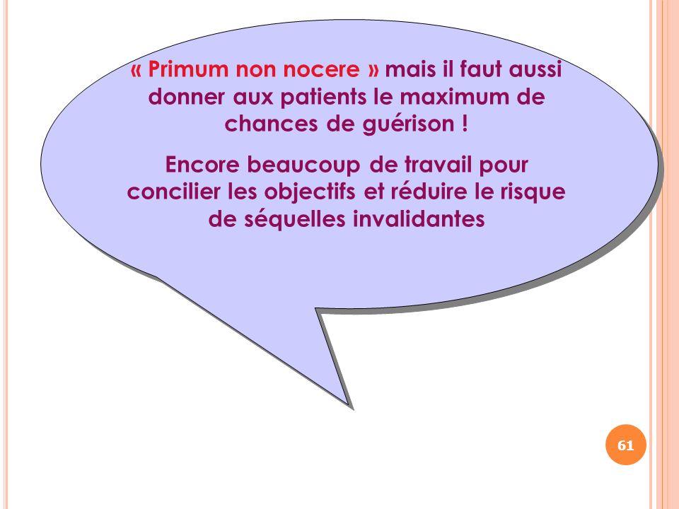 « Primum non nocere » mais il faut aussi donner aux patients le maximum de chances de guérison ! Encore beaucoup de travail pour concilier les objecti