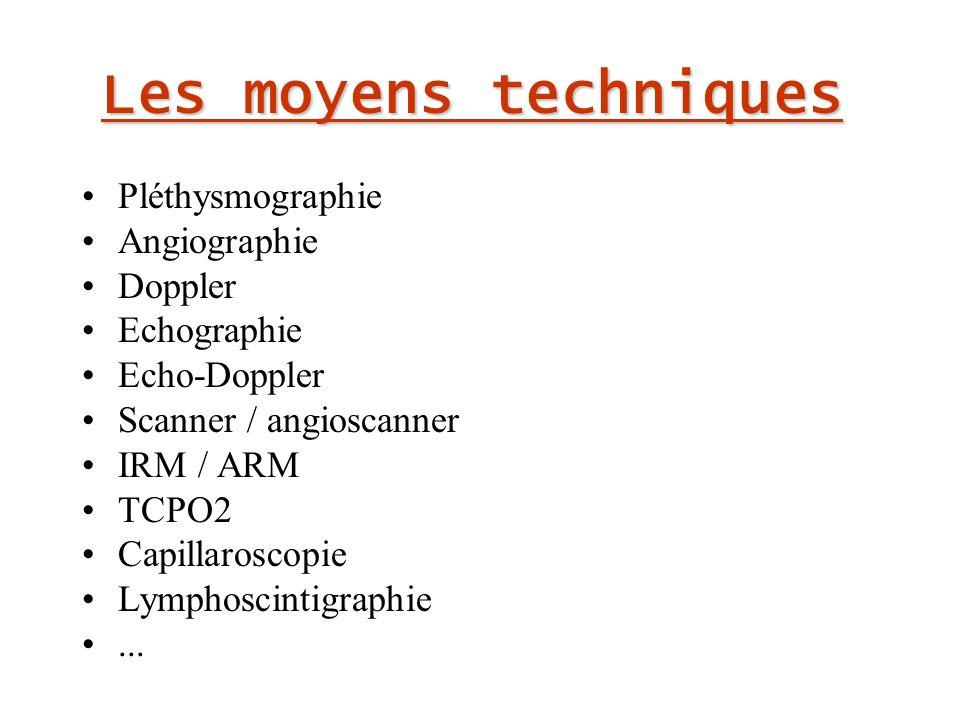 Les moyens techniques Pléthysmographie Angiographie Doppler Echographie Echo-Doppler Scanner / angioscanner IRM / ARM TCPO2 Capillaroscopie Lymphoscintigraphie...