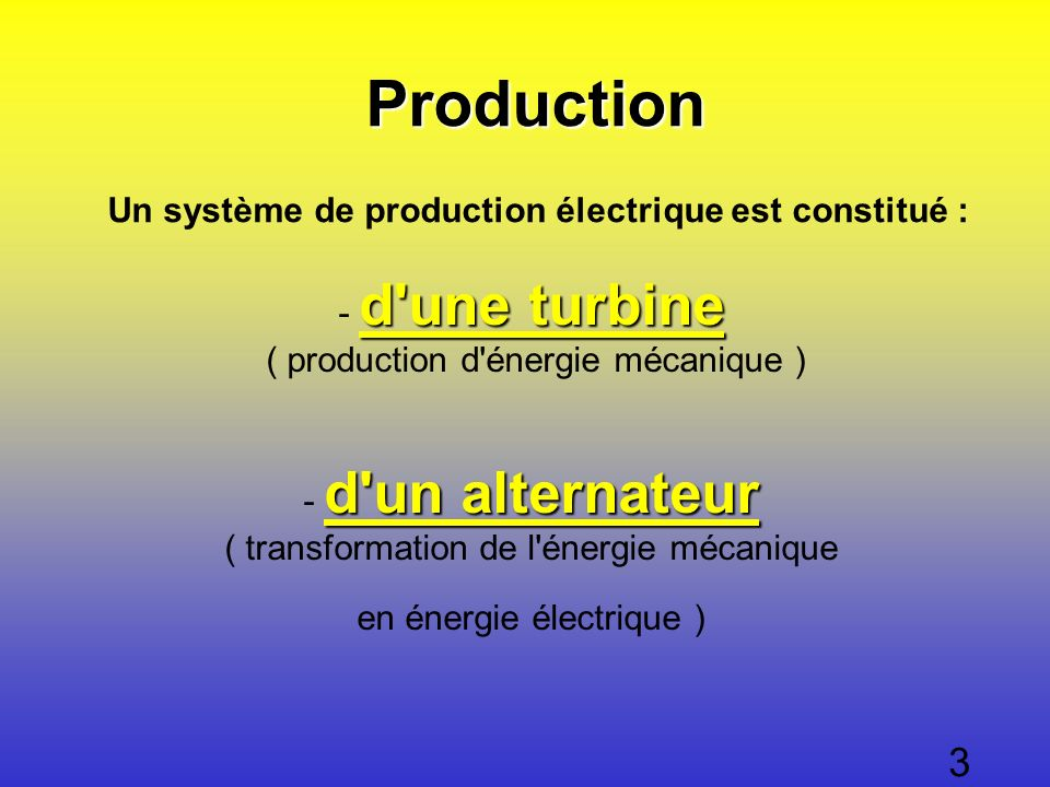 Un système de production électrique est constitué : d'une turbine d'une turbine - d'une turbine ( production d'énergie mécanique ) d'une turbine d'un