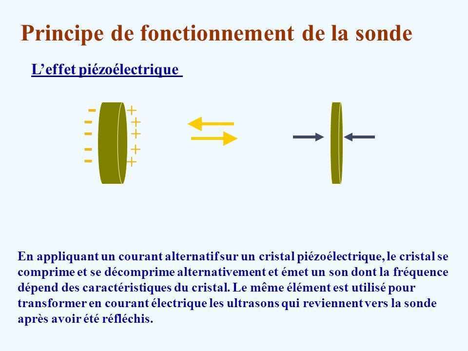 Principe de fonctionnement de la sonde Leffet piézoélectrique En appliquant un courant alternatif sur un cristal piézoélectrique, le cristal se compri