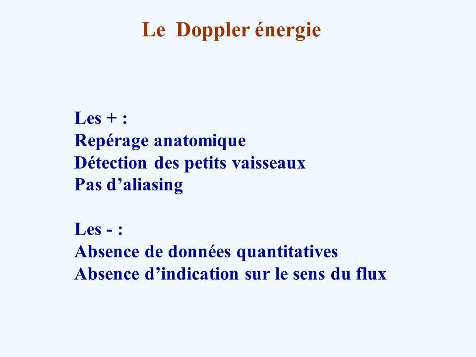 Le Doppler énergie Les + : Repérage anatomique Détection des petits vaisseaux Pas daliasing Les - : Absence de données quantitatives Absence dindicati