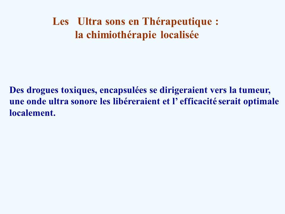 Les Ultra sons en Thérapeutique : la chimiothérapie localisée Des drogues toxiques, encapsulées se dirigeraient vers la tumeur, une onde ultra sonore