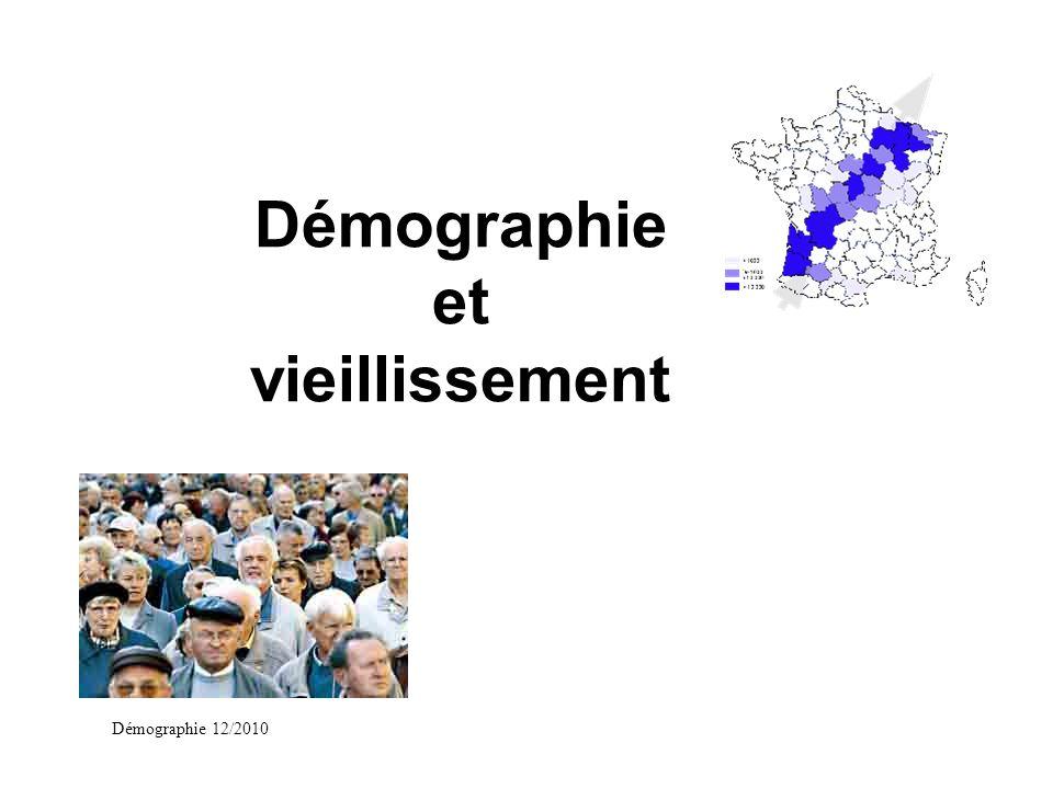 Démographie 12/2010 Vieillissement et dépendance u Augmentation de la dépendance avec lâge u Augmentation du nombre de personnes dépendantes dans lavenir
