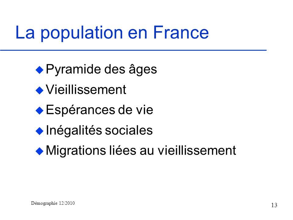 Démographie 12/2010 La population en France u Pyramide des âges u Vieillissement u Espérances de vie u Inégalités sociales u Migrations liées au vieil
