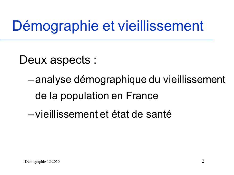 Démographie 12/2010 Démographie et vieillissement Deux aspects : –analyse démographique du vieillissement de la population en France –vieillissement e