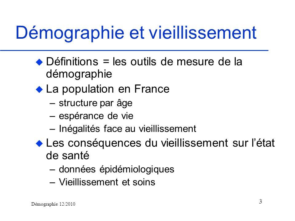 Démographie 12/2010 Démographie et vieillissement u Définitions = les outils de mesure de la démographie u La population en France –structure par âge