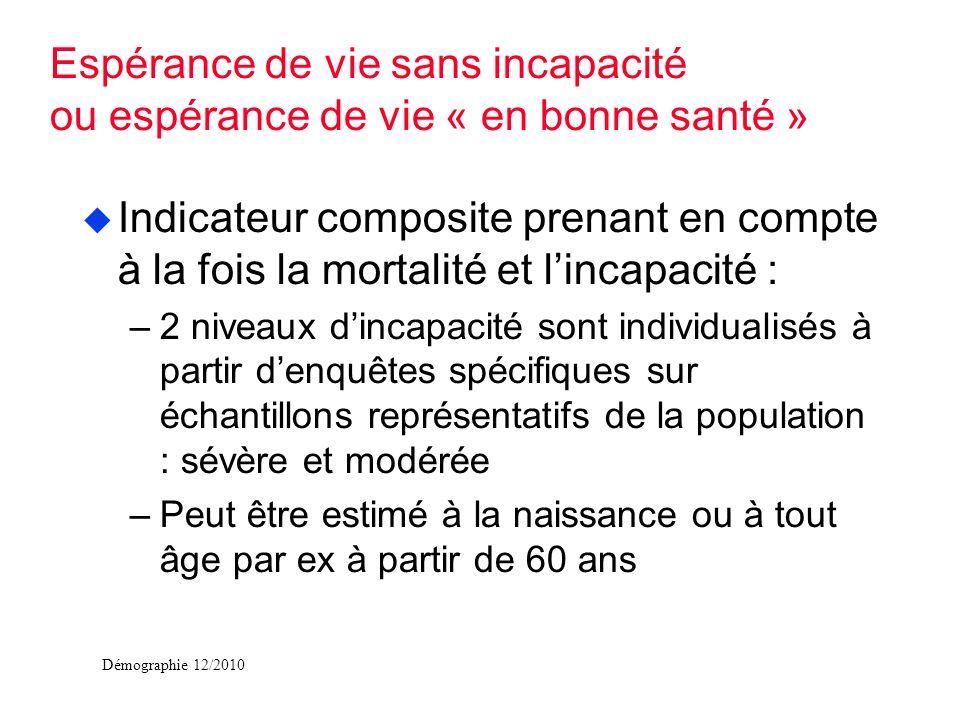 Démographie 12/2010 u Indicateur composite prenant en compte à la fois la mortalité et lincapacité : –2 niveaux dincapacité sont individualisés à part