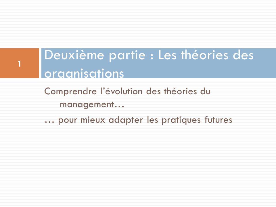 Comprendre lévolution des théories du management… … pour mieux adapter les pratiques futures Deuxième partie : Les théories des organisations 1