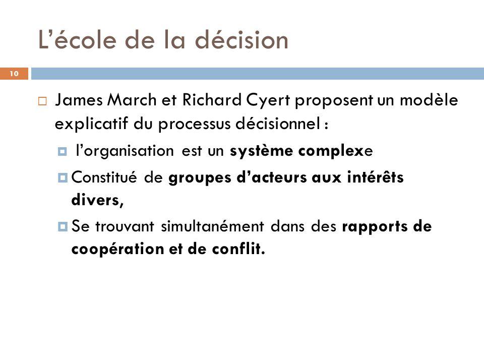 Lécole de la décision 10 James March et Richard Cyert proposent un modèle explicatif du processus décisionnel : lorganisation est un système complexe