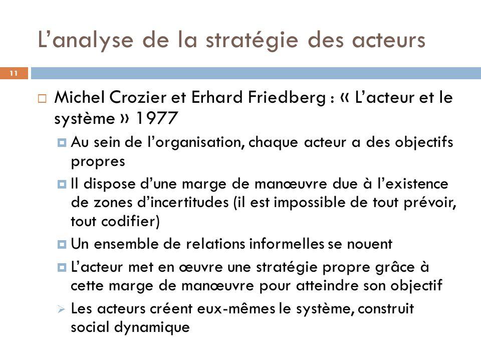 Lanalyse de la stratégie des acteurs 11 Michel Crozier et Erhard Friedberg : « Lacteur et le système » 1977 Au sein de lorganisation, chaque acteur a