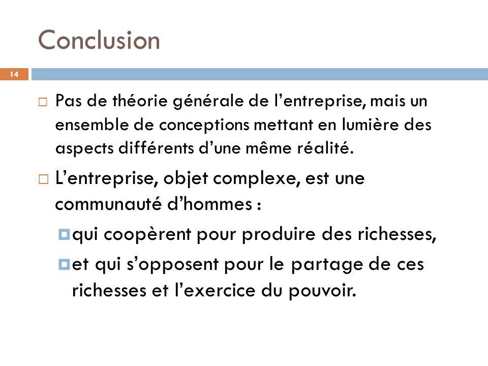 Conclusion 14 Pas de théorie générale de lentreprise, mais un ensemble de conceptions mettant en lumière des aspects différents dune même réalité. Len