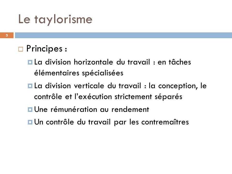 Le taylorisme Principes : La division horizontale du travail : en tâches élémentaires spécialisées La division verticale du travail : la conception, l