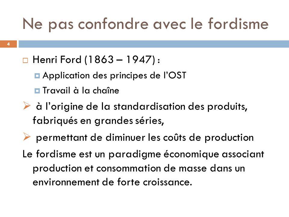 Ne pas confondre avec le fordisme Henri Ford (1863 – 1947) : Application des principes de lOST Travail à la chaîne à lorigine de la standardisation de