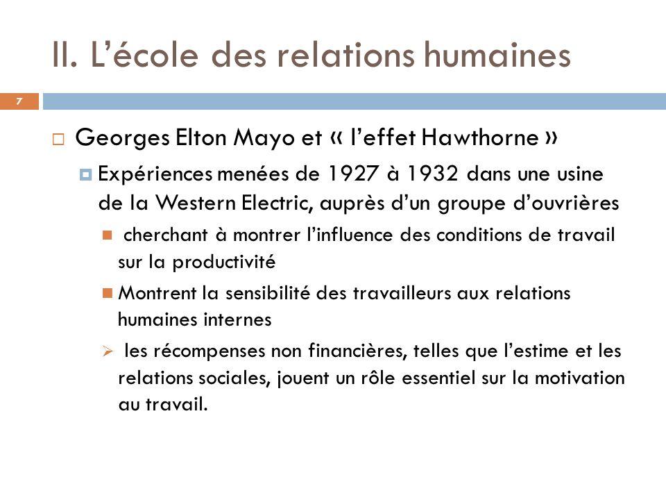 II. Lécole des relations humaines 7 Georges Elton Mayo et « leffet Hawthorne » Expériences menées de 1927 à 1932 dans une usine de la Western Electric