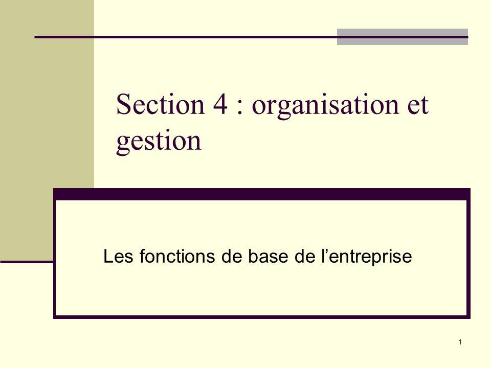 1 Section 4 : organisation et gestion Les fonctions de base de lentreprise