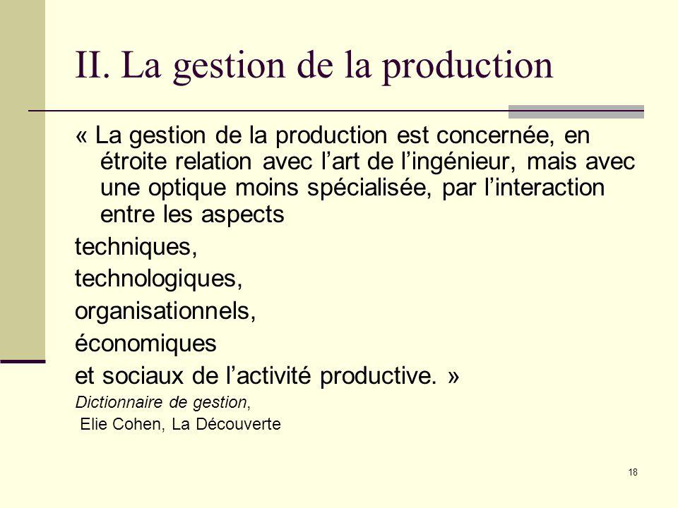 II. La gestion de la production « La gestion de la production est concernée, en étroite relation avec lart de lingénieur, mais avec une optique moins