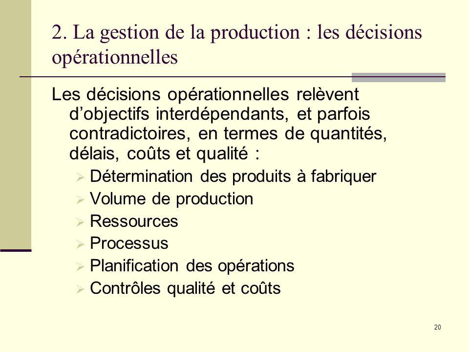 2. La gestion de la production : les décisions opérationnelles Les décisions opérationnelles relèvent dobjectifs interdépendants, et parfois contradic