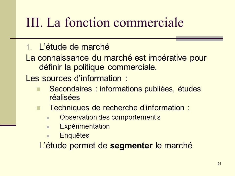 III. La fonction commerciale 1. Létude de marché La connaissance du marché est impérative pour définir la politique commerciale. Les sources dinformat