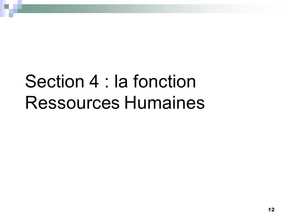 12 Section 4 : la fonction Ressources Humaines