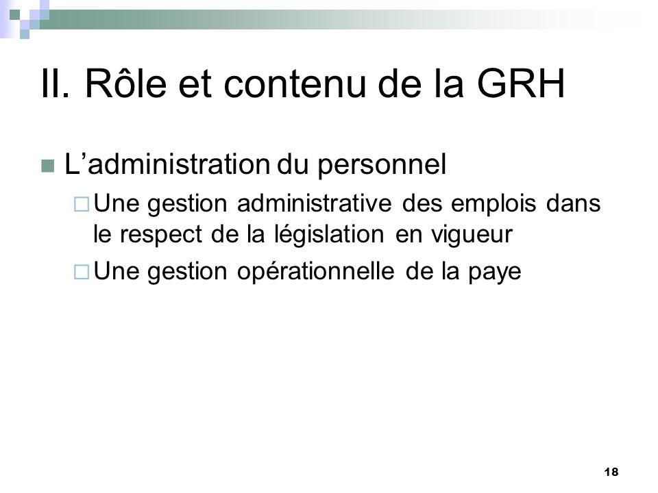 18 II. Rôle et contenu de la GRH Ladministration du personnel Une gestion administrative des emplois dans le respect de la législation en vigueur Une