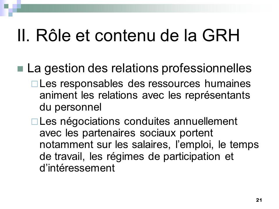 21 II. Rôle et contenu de la GRH La gestion des relations professionnelles Les responsables des ressources humaines animent les relations avec les rep