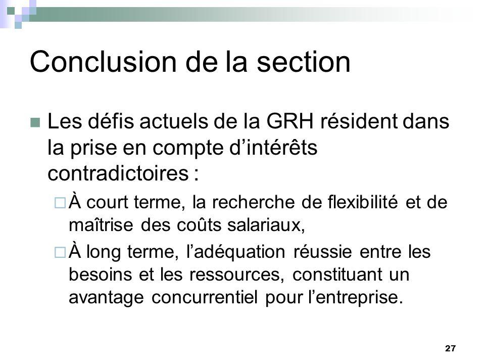 27 Conclusion de la section Les défis actuels de la GRH résident dans la prise en compte dintérêts contradictoires : À court terme, la recherche de fl