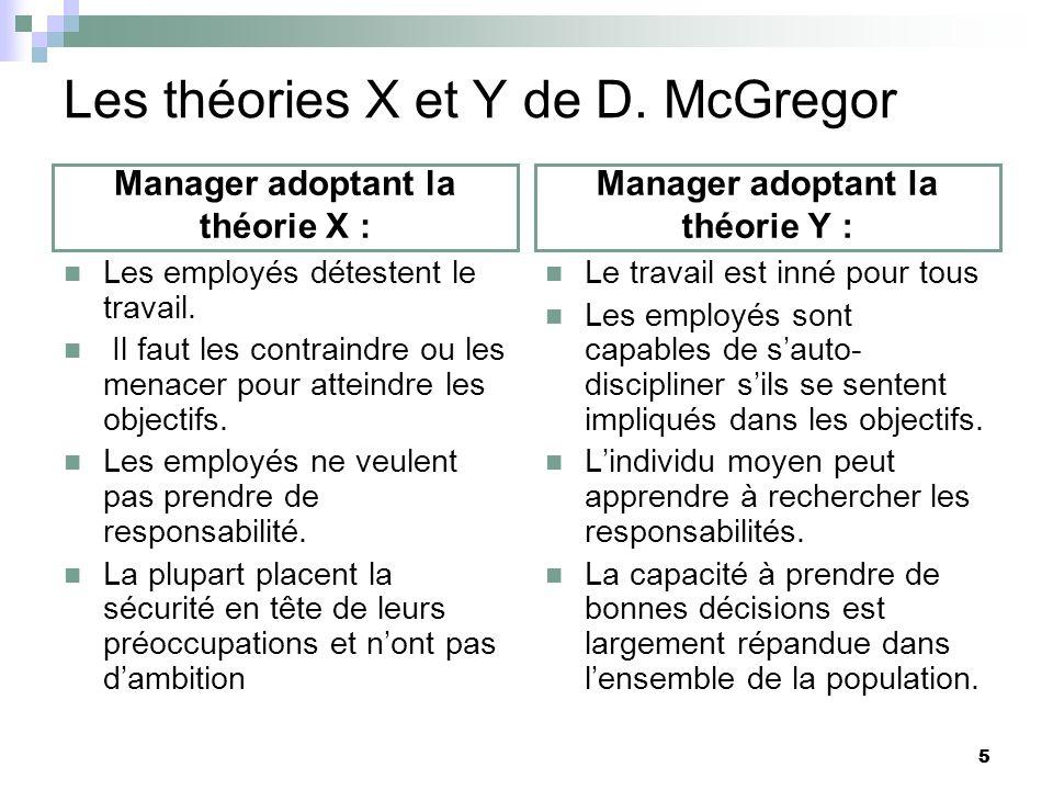 5 Les théories X et Y de D. McGregor Manager adoptant la théorie X : Les employés détestent le travail. Il faut les contraindre ou les menacer pour at