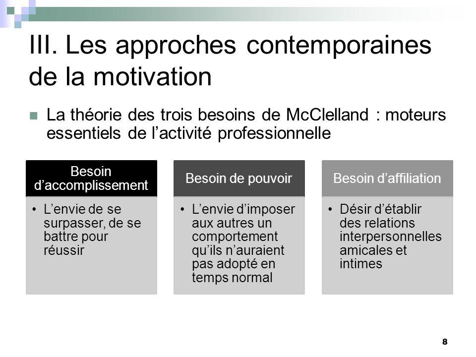 8 III. Les approches contemporaines de la motivation La théorie des trois besoins de McClelland : moteurs essentiels de lactivité professionnelle Beso
